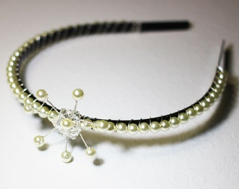 Pearl and crystal beaded hairband with wire wrapped flower