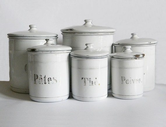 French Enamel Canisters 6 Vintage Enamelware White Kitchen