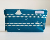 cosmetic pouch. nautical. wet bag. waterproof. make up bag.