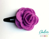 Purple Felt Rose Hairclip-  Lovely Felt Rose Hairclip In Bright Colors - Felt rose brooches or hairclips