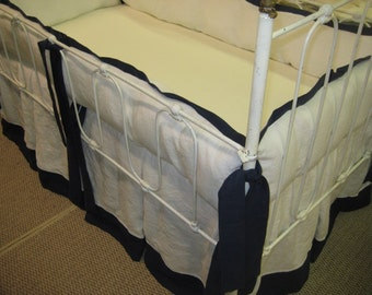 Tailored Crib Bedding in Bright White and Navy Washed Linen-Bumpers-Pleated Crib Skirt-Tailored Pillow
