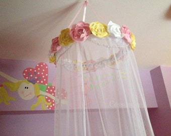 Custom Fabric Flower Canopy - Bed Canopy - Fabric Flower Bed Canopy - Girls Bed Canopy - Crib Canopy