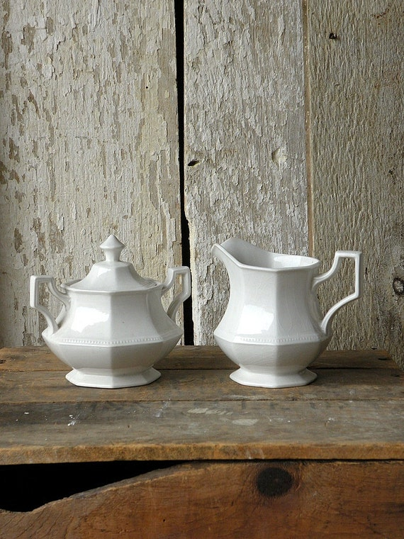 Vintage white ironstone cream and sugar set