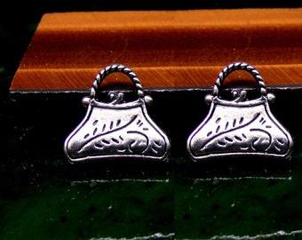 Ladies Purse Stud Earrings Sterling Silver Free Domestic Shipping