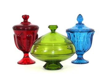 SET 3 Viking Epic Glass Candy Apothecary Jars in Ruby Bluenique and Moss Green
