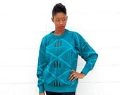 SALE!!!!!!!!! Teal slouchy boyfriend sweater with leather patches unisex 1990s 1980s