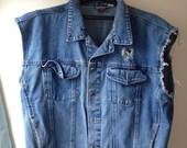 Unisex Denim Jean Jacket Vest, Size S/M/L