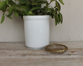 Vintage Glass & Brass Ash Tray