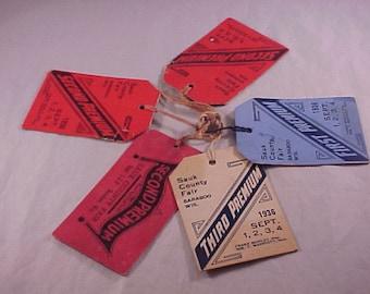 Lot of 5 Sauk County Fair Baraboo Wisconsin 1936 Premium Tags