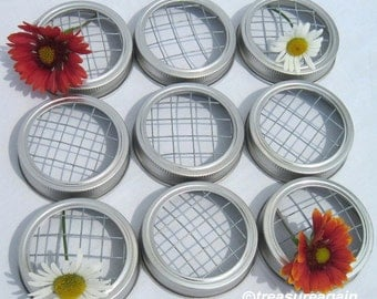 9 Mason Jar Flower Lid Frogs for Mason Jars, Silver or Gold