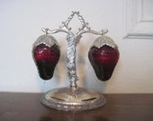 vintage Ruby Red Glass Strawberry Salt & Pepper Shakers on Silverplate Stand