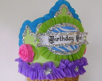 Birthday Party Hat, Birthday Party Crown, Birthday girl hat, customize, adult or child