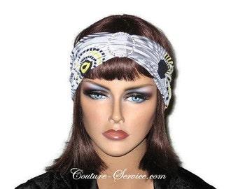 Grey Turban Headband, Women's Handmade Fashion, Yellow Abstract Turban, Yellow Rhinestone Turban, Yellow Half Turban