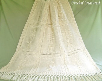 Aran Harvest Afghan / new / handmade / blanket / throw / unique / country cottage / off white / cream / beige / wheat
