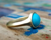 Turquoise Ring , Gold Turquoise Ring , Cocktail Ring , Turquoise and 14k Gold Ring , Statement Ring , Gold Cocktail Ring
