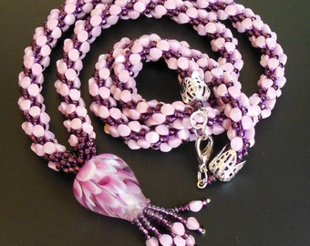 Long crochet rope pendant Pinch necklace  lariat knitted  beads pink purple