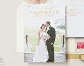 THANK YOU CARDS - Flat Gold and Pink Photo Wedding Thank You Cards, Bourne Glam Design by Sincerely, Jackie