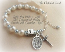 Catholic Baby Boy Baptism Personalized Rosary Bracelet with White and Baby Blue Pearl