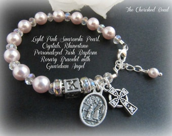 Light Pink Swarovski Pearl, Crystal & Rhinestone Personalized Irish Rosary Bracelet with Guardian Angel