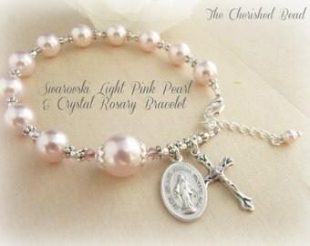 Beautiful Swarovski Light Pink Pearl, Crystal & Silver Rosary Bracelet