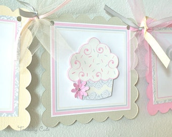 NEW - Damask Cupcake, Birthday Banner
