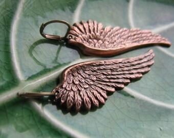 Gorgeous Ox Copper Angel Wings Earrings