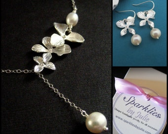 Silver Orchid Set - Orchid Necklace & Earring jewelry set, Lariat Style Necklace, Freshwater Pearls, Bride, Bridal Party
