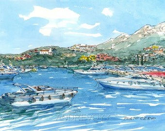 Porto Cervo Sardegna Sardinia  Italy art print from an original watercolor painting