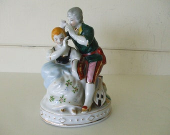 Colonial Couple Figurine, Occupied Japan, Handpainted,  Stamped,  Vintage, Gifts, #5380
