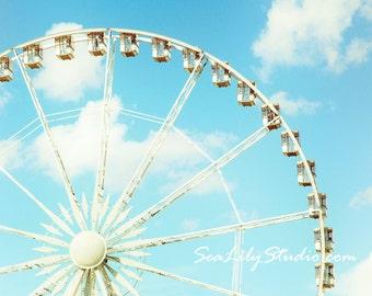 Summer Carnival : ferris wheel photography paris whimsical jardin des tuileries retro blue sky home decor 8x12 12x18 16x24 20x30 24x36