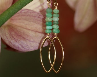 Chrysoprase and Gold Marquise Earrings