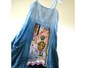 Unique blue vintage reconstructed bohemian chic style dress