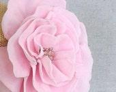 Flower Brooch or Hair Clip Pink Velvet