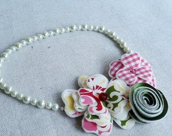 Flower Collage Necklace in Hot Pink, Green, and White