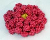 Chrysanthemum Clippie, flower clippie, crochet flower, crochet chrysanthemum, hat applique, hair accessory