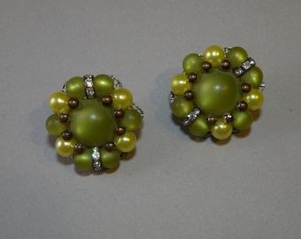 Vintage Olive Thermoplastic Earrings
