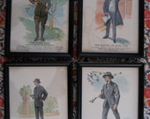 four framed vintage prints of fashionable men