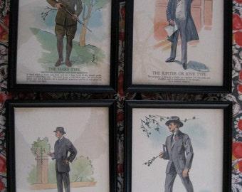 four framed vintage prints of fashionable men
