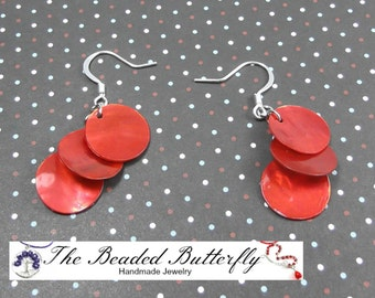 Red Shell Earrings, Round Shell Earrings, Small Shell Coin Earrings, C-19