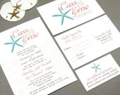 Starfish Beach Wedding Invitation Set by RunkPock Designs / Modern Summer Script Calligraphy Floral Swirl Suite shown in Teal / Sand / Coral