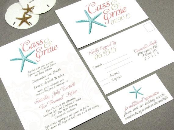 Etsy Beach Wedding Invitations: Starfish Beach Wedding Invitation Set By By RunkPockDesigns