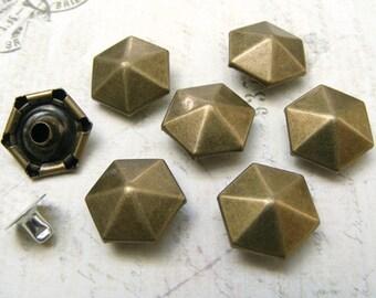 50sets hexagon facet Rivet for decorate Jean, Jacket, bag purse, leathercraft