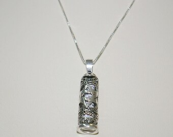 Sterling Silver 925 MEZUZAH Pendant with Cut Out Star of David and BOX Chain Necklace, Scroll included - Real Silver - Free Shipping.