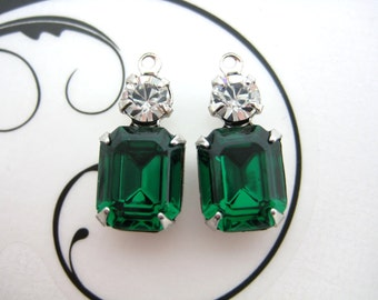 10x8 Swarovski Emerald Green Octagon and Crystal Clear Round Rhinestone in Silver Double One Ring Setting 1 Pair