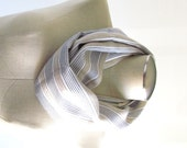 Tan Striped Scarf - Circle Scarf - Loop Scarf - SALE