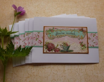 INVITATIONS , cards ( pack of 6 ) ' Vintage Rose.  ' .UK seller...ready to ship .....
