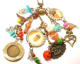 Day of the Dead Necklace Frida Kahlo Turquoise Sugar Skull Jewelry Key Chain Necklace Day of the Dead Jewelry Dia de los Muertos Jewelry #3