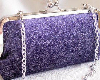 Handmade shoulder bag, clutch handbag. Purple, glitter. GALA by Lella Rae on Etsy