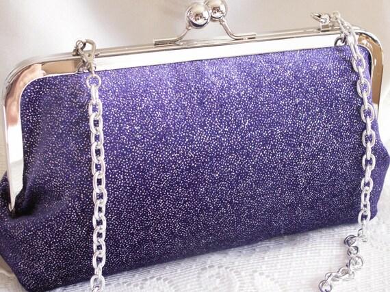 Handmade shoulder bag, clutch handbag. Purple, glitter. GALA by Lella Rae on Etsy