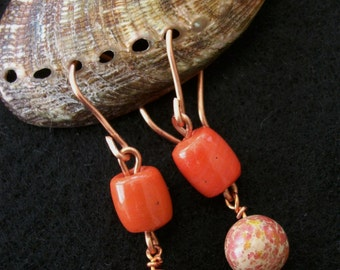 Orange and Pink Impression Earrings